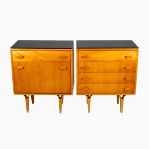 Mid-Century Nightstands with Black Glass Tops from Nový Domov NP, 1970s, Set of 2