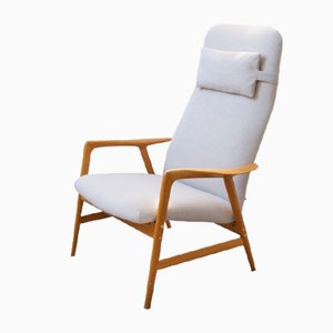 Vintage Contour 2 High-Back Armchair in Oak & Ivory Colored Fabric by Alf Svensson for Dux