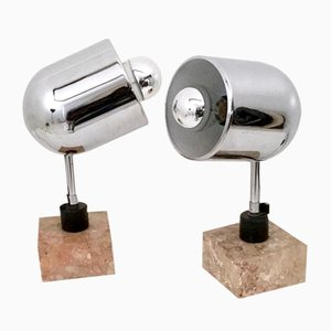 Italian Chrome-Plated Table Lamps with Square Marble Base, 1970s, Set of 2
