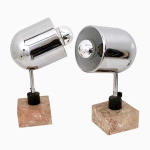 Verchromte Italienische Tischlampen mit Quadratischem Marmor-Unterbau, 1970er, 2er Set