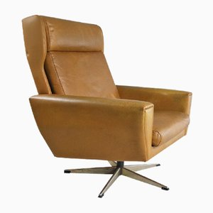 Mid-Century Danish Swivel Leather Lounge Chair, 1970s