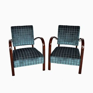 Italian Beech & Velvet Lounge Chairs, Set of 2