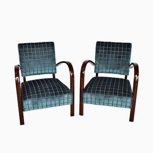 Italienische Sessel aus Buche & Samt, 2er Set