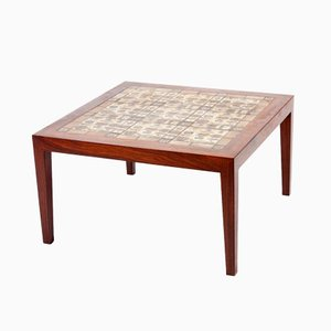 Rosewood Table with Tiles by Severin Hansen for Haslev Møbelsnedkeri, 1970s