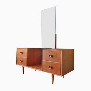 Coiffeuse Vintage en Contreplaqué de Chêne et Miroir, 1960s