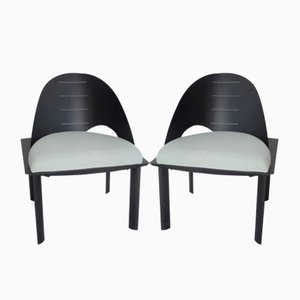 Asymmetrical Post-Modernist Armchairs, 1980s, Set of 2