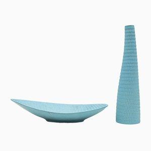 Reptil Ceramic Vase and Centerpiece Set by Stig Lindberg for Gustavsberg, 1953