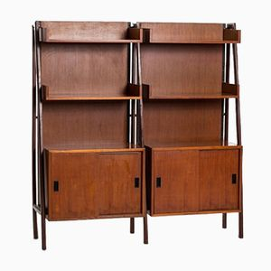Teak Adjustable Double Shelf Storage Unit, 1960s
