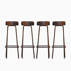 Mid-Century Industrial Bar Stools, 1950s, Set of 4