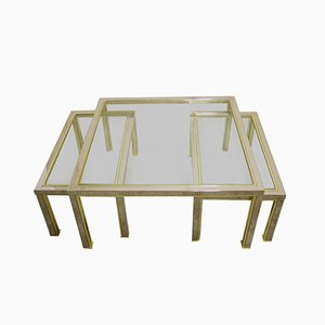 Vintage Hollywood Regency Brass & Chrome Coffee Tables, Set of 3