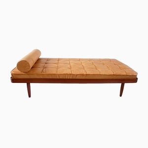 Mid-Century Solid Teak & Leather Daybed from Mobelfabrik Horsens Denmark