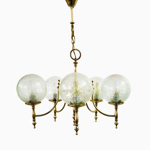 Neo-Classical Brass Chandelier with 5 Glass Globes, 1960s