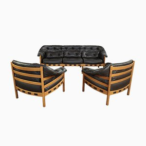 Mid-Century Teak & Leather Seating Group by Arne Norell for Coja