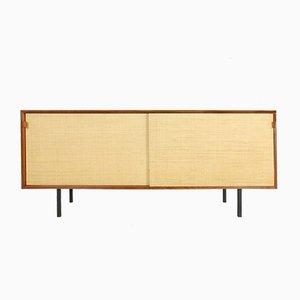 Teak und Seegras Sideboard von Florence Knoll Bassett für Knoll, 1950er