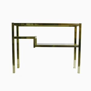 Two Tier Brass & Chrome Console Table, 1980s