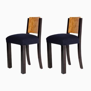 Art Deco Mahogany Veneer Chairs, Set Of 2
