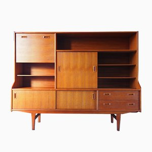 Mid-Century Teak Wall Unit Highboard, 1970s