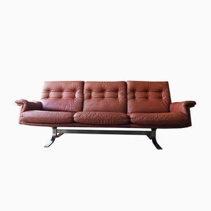 Red/Brown Leather 3-Seater Sofa by Frederik Kayser for Vatne, 1960s