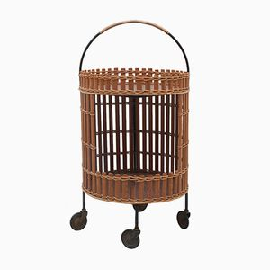 Vintage Round Wood and Rattan Trolley, 1960s