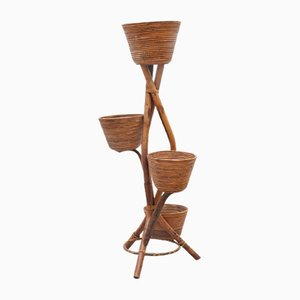 Vintage French Bamboo Plant Stand, 1950s
