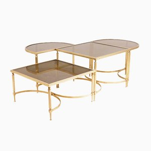 Mid-Century French Brass Coffee Table Set from Maison Jansen, 1960s