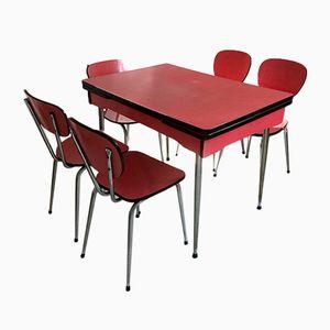 Tavolo e 5 sedie Mid-Century in legno di formica rosso