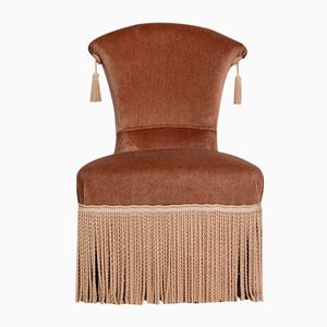 Vintage Hollywood Regency Velvet Boudoir Chair with Tassel Fringe