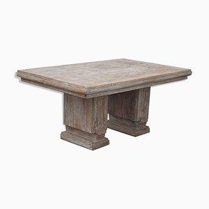 Tavolo Art Déco in legno di quercia sbiancato di Jean Charles Moreux, anni '40