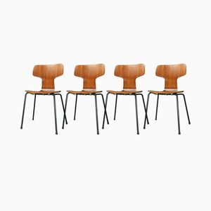3103 Teak Hammer Stühle von Arne Jacobsen für Fritz Hansen, 1967, 4er Set