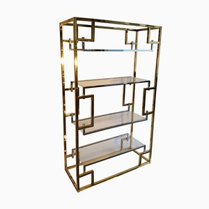 Hollywood Regency Shelving Unit in Brass and Chrome from Belgo Chrom, 1970s