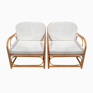 Italian Bent Bamboo Armchairs with White Cushions, 1960s, Set of 2