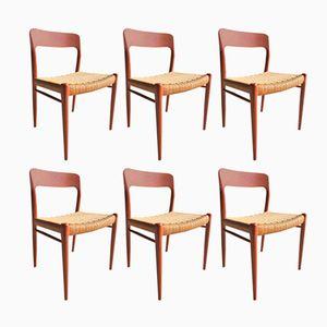 Chaises de Salon Modèle 75 par Niels Otto Møller pour J.L. Møllers, 1960s, Set de 6