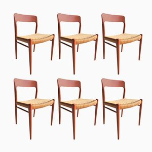 Model 75 Dining Chairs by Niels Otto Møller for J.L. Møllers, 1960s, Set of 6