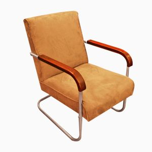 Cantilevered Chair in Tubular Steel, 1940s