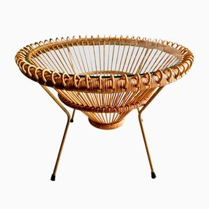 Mid-Century Rattan Coffee Table with Glass Top by Franco Albini, 1950s