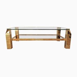 Tavolino da caffè vintage in metallo dorato e vetro di Belgo Chrom