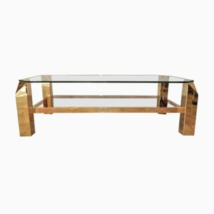 Vintage Coffee Table in Golden Metal and Glass from Belgo Chrom