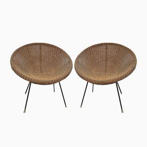 Vintage Wicker Outdoor Armchairs, Set of 2