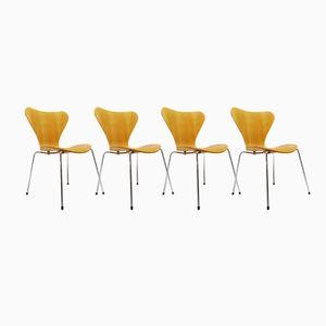 3107 Modell Butterfly Stühle von Arne Jacobsen für Fritz Hansen, 1980er, 4er Set