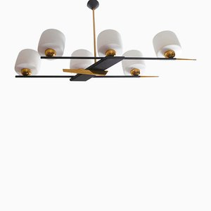 French Brass and Opaline Metal Chandelier from Maison Arlus, 1960s