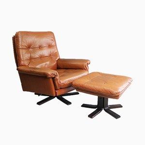 Mid-Century Danish Reclining Leather Armchair & Footstool, 1970s