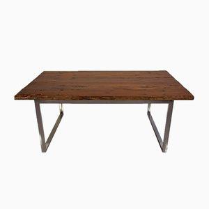 Tavolo da pranzo in legno con base cromata, Danimarca, anni '80