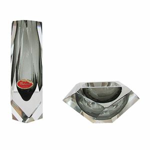 Sommerso Murano Glass Block Vase with Ashtray, 1970s