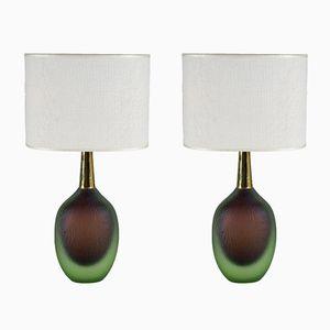 Mid-Century Sommerso Murano Glas Tischlampen von Seguso Vetri D'Arte, 1956, 2er Set