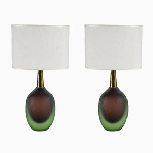Mid-Century Sommerso Murano Glass Table Lamps from Seguso Vetri D'Arte, 1956, Set of 2