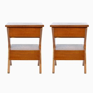 Mid-Century Italian Nightstand with Double Drawers, 1948, Set of 2