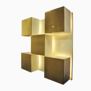 Italian Lacquered Wood and Plexiglas Wall Unit by Roberto Monsani for Acerbis