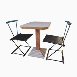 Set Table & Chaise Vintage, Pays-Bas, 1980s