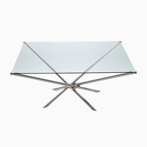 French Brass Coffee Table with Glass Top, 1970s