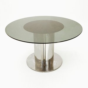 Round Glass Top Dining Table from Cidue, 1970s